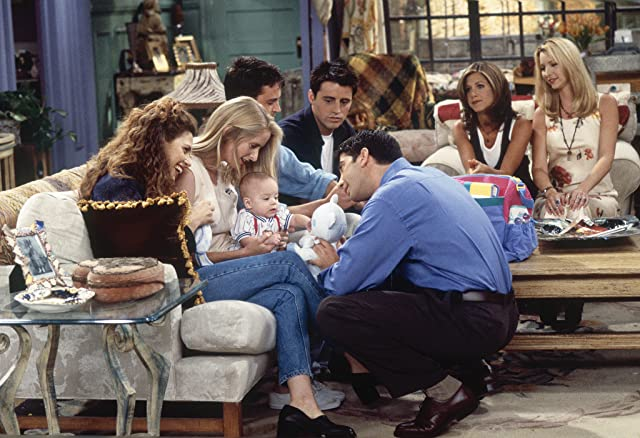 Jennifer Aniston, Lisa Kudrow, Matt LeBlanc, Matthew Perry, David Schwimmer, Jessica Hecht, and Jane Sibbett in Friends (1994)