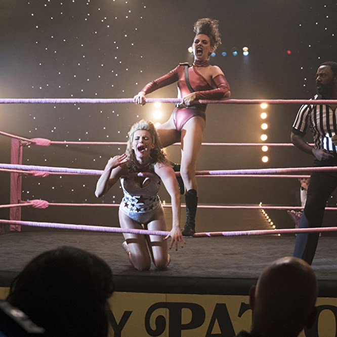 Bashir Salahuddin, Alison Brie, and Betty Gilpin in GLOW (2017)