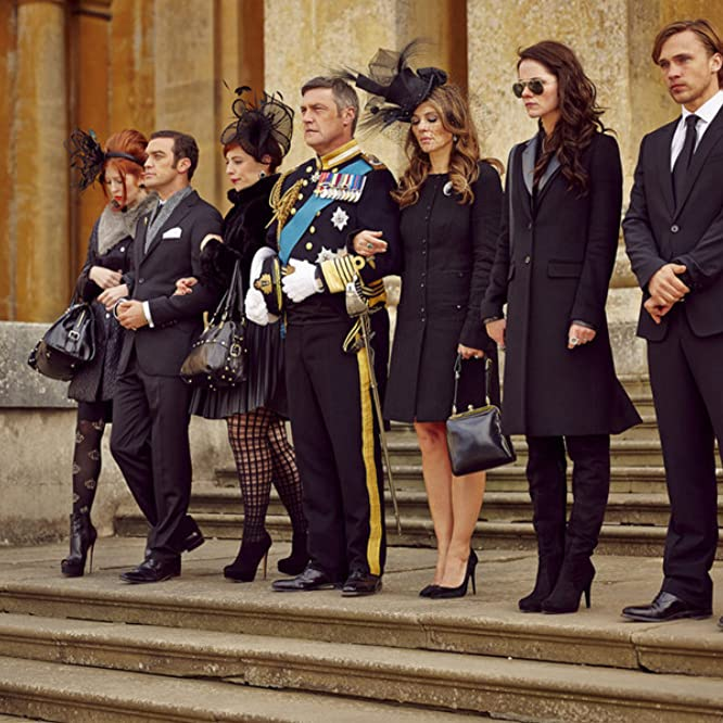 Elizabeth Hurley, William Moseley, Vincent Regan, and Alexandra Park in The Royals (2015)
