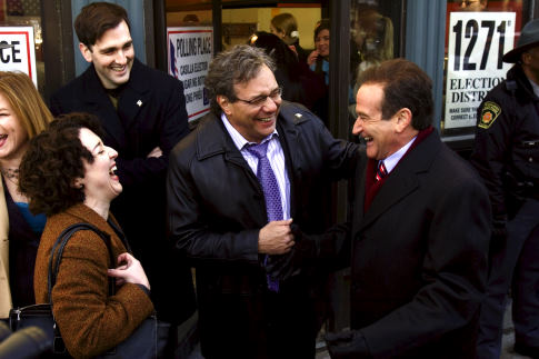 Robin Williams, Lewis Black, and Karen Hines in Man of the Year (2006)