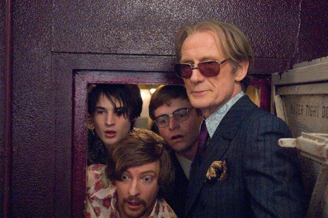 Bill Nighy, Tom Sturridge, and Rhys Darby in Pirate Radio (2009)