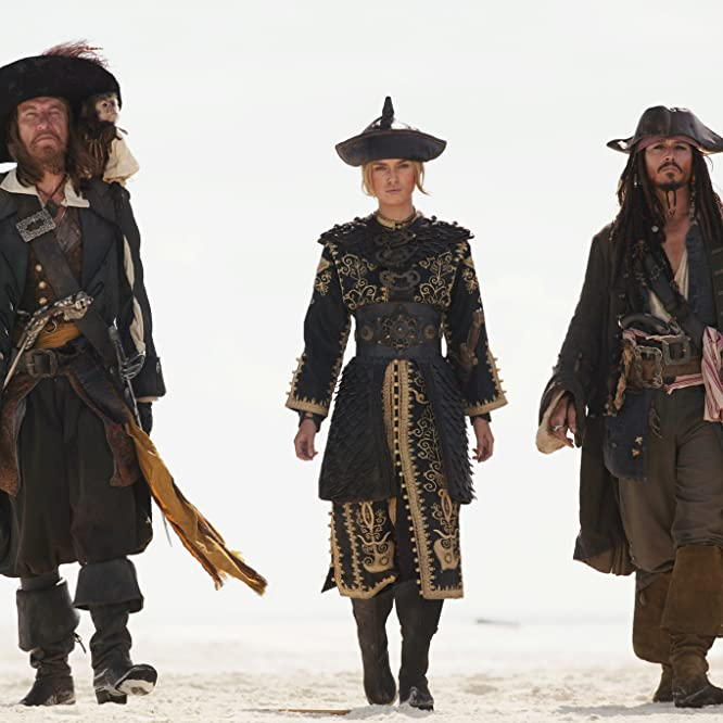 Johnny Depp, Geoffrey Rush, and Keira Knightley in Pirates of the Caribbean: At World's End (2007)