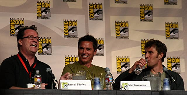 Producer Russell T. Davies, actor John Barrowman, and director Euros Lyn discussing Torchwood at Comic-Con 2009