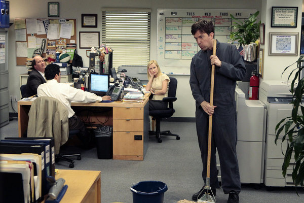 Ed Helms, Angela Kinsey, and Brian Baumgartner in The Office (2005)