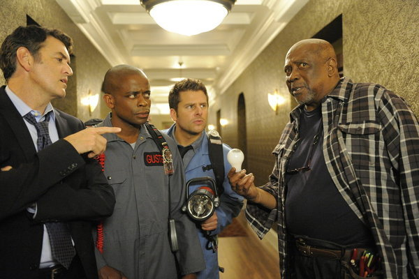 Louis Gossett Jr., Dulé Hill, Timothy Omundson, and James Roday in Psych (2006)