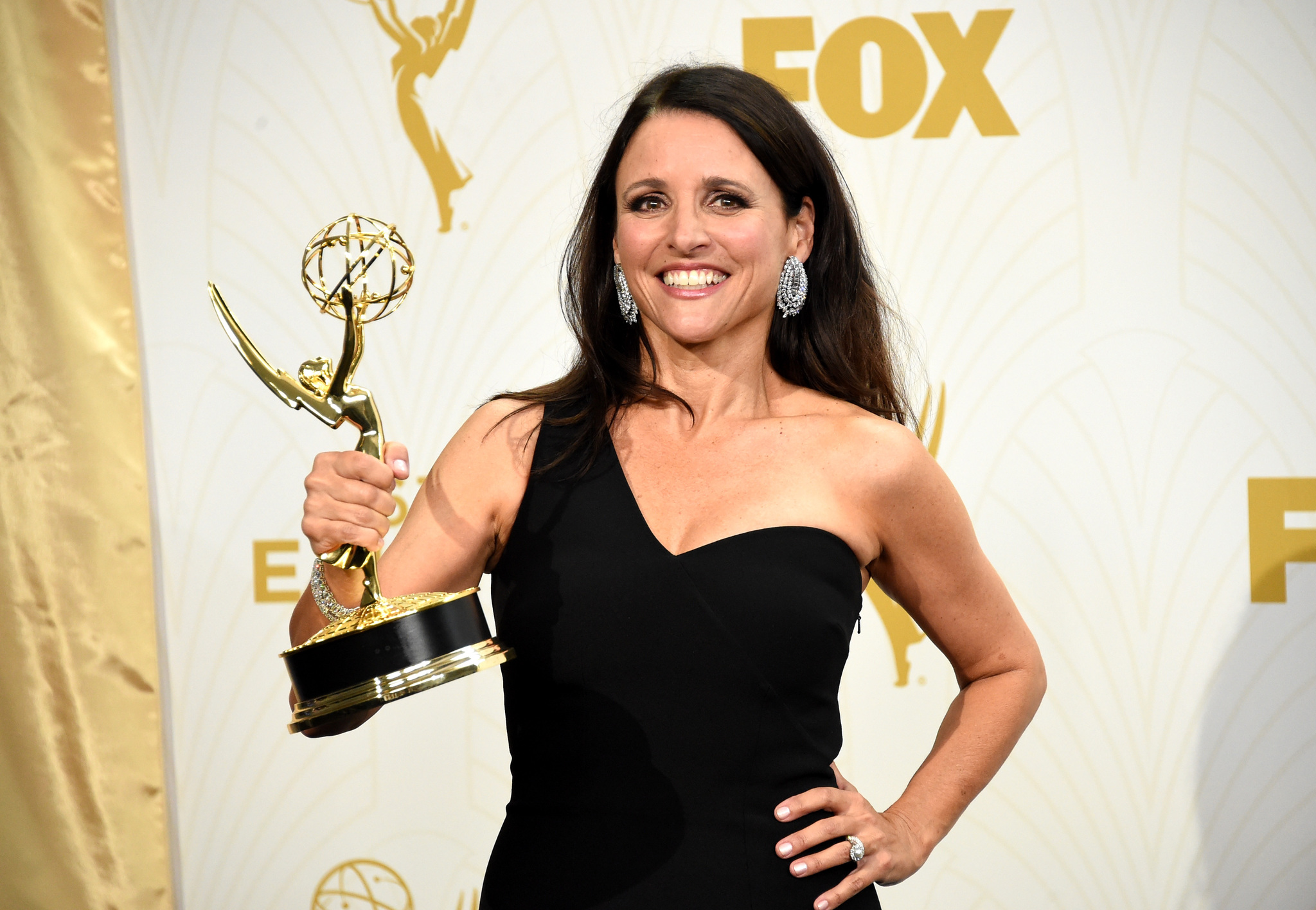 25th anniversary 25 look at 25 top stars then and now julia louis dreyfus at an event for the 67th primetime emmy awards 2015