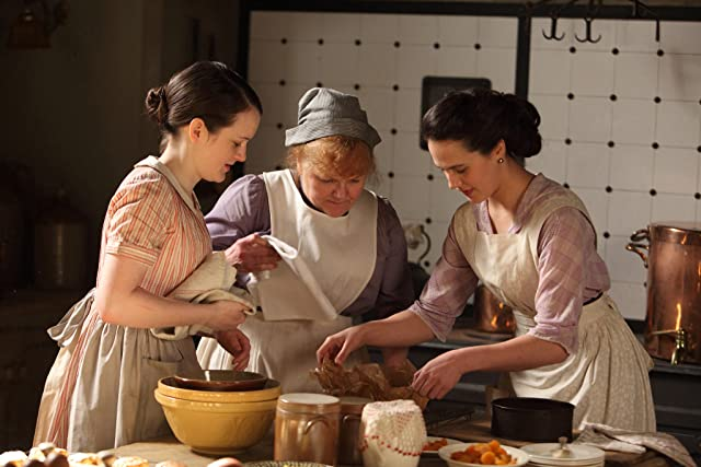 Lesley Nicol, Sophie McShera, and Jessica Brown Findlay in Downton Abbey (2010)