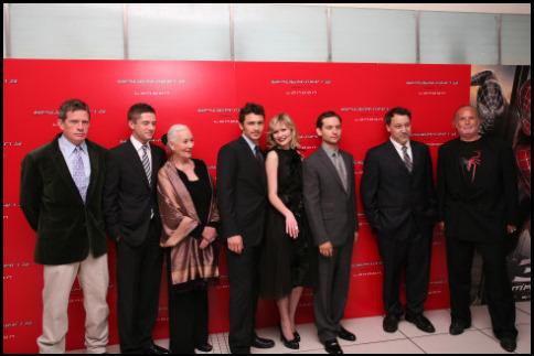 Kirsten Dunst, Sam Raimi, Tobey Maguire, Thomas Haden Church, Avi Arad, James Franco, Topher Grace, and Rosemary Harris at Spider-Man 3 (2007)