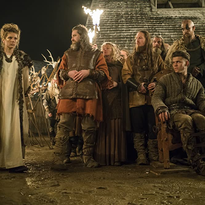 Katheryn Winnick, Maude Hirst, and Alex Høgh Andersen in Vikings (2013)