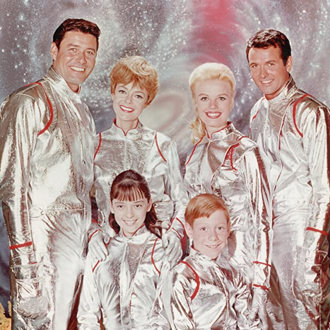 June Lockhart, Angela Cartwright, Mark Goddard, Marta Kristen, Bill Mumy, and Guy Williams in Lost in Space (1965)