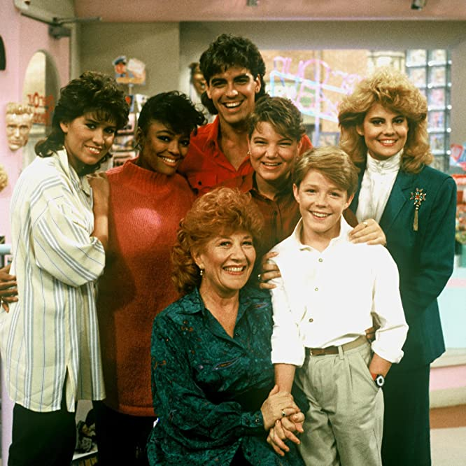 George Clooney, Nancy McKeon, Kim Fields, Mackenzie Astin, Mindy Cohn, Charlotte Rae, and Lisa Whelchel in The Facts of Life (1979)