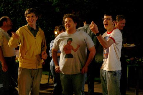 Michael Cera, Jonah Hill, and Christopher Mintz-Plasse in Superbad (2007)