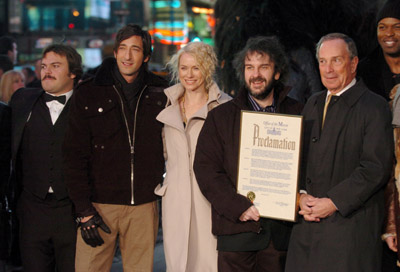 Peter Jackson, Adrien Brody, Jack Black, Michael Bloomberg, and Naomi Watts at an event for King Kong (2005)