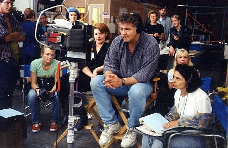 David Winning directing Breaker High in Vancouver, Canada. Ryan Gosling is pictured in background right.