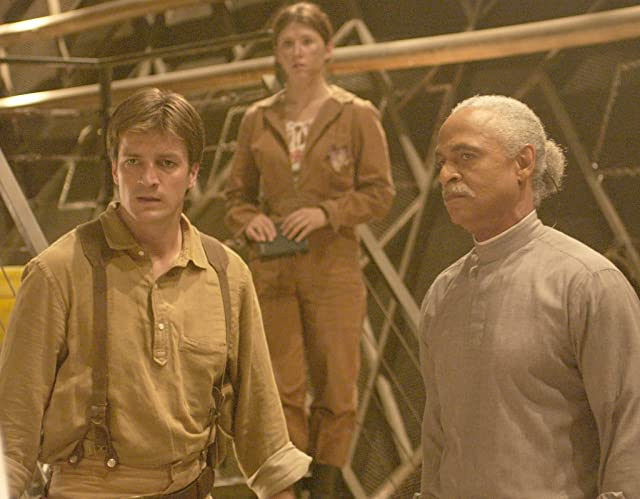 Nathan Fillion, Ron Glass, and Jewel Staite in Firefly (2002)