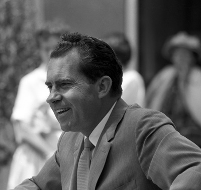 Richard Nixon at a signing for his book