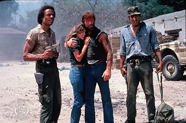 Robert Beltran, Chuck Norris, Leon Isaac Kennedy, and Dana Kimmell in Lone Wolf McQuade (1983)
