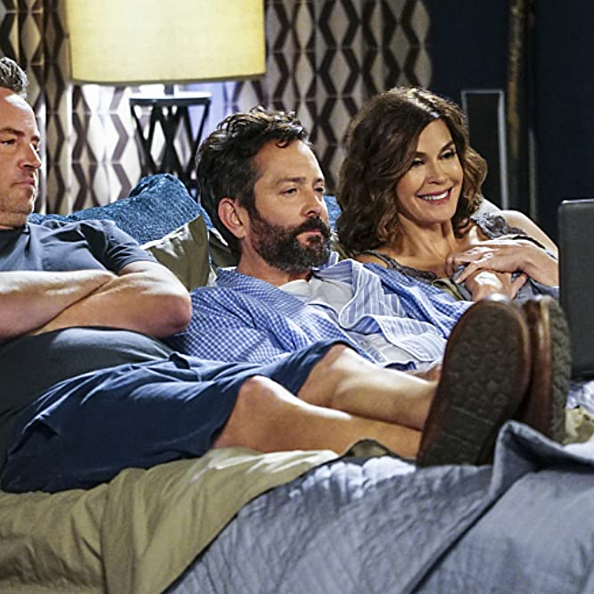 Teri Hatcher, Matthew Perry, and Thomas Lennon in The Odd Couple (2015)