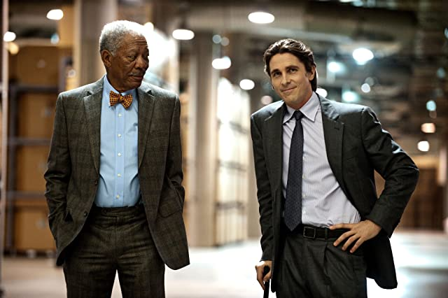 Morgan Freeman and Christian Bale in The Dark Knight Rises (2012)