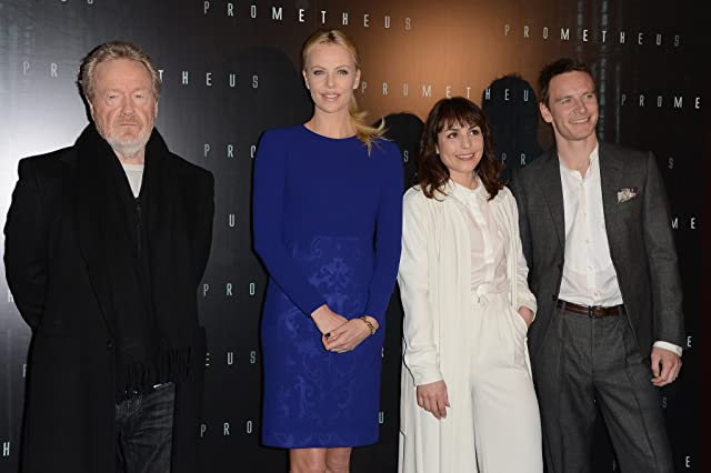 Charlize Theron, Ridley Scott, Noomi Rapace, and Michael Fassbender at Prometheus (2012)