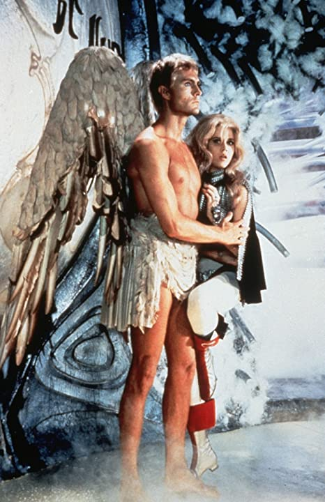 Jane Fonda and John Phillip Law in Barbarella (1968)