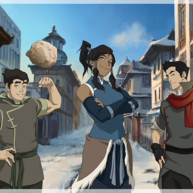 David Faustino, P.J. Byrne, and Janet Varney in The Legend of Korra (2012)
