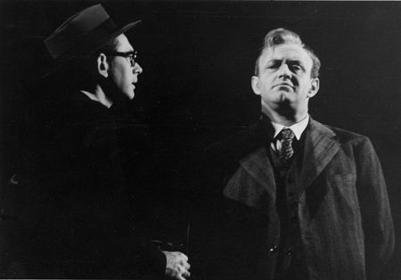DON KEEFER, in hat and glasses, with LEE J. COBB in DEATH OF A SALESMAN