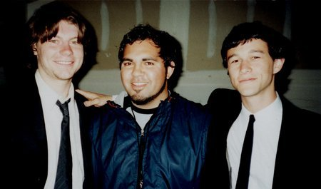 Patrick Fugit, Joshua Ligairi, and Joseph Gordon-Levitt on the set of the Sundance Film Lab version of Paradise Now.