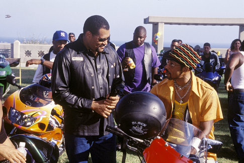 The leader of the Black Knights, Smoke (LAURENCE FISHBURNE, left) takes a moment between races with Soul Train (ORLANDO JONES) another member of his club.