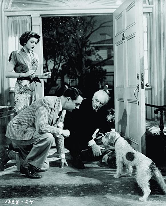 Myrna Loy, William Powell, Harry Davenport, and Asta in The Thin Man Goes Home (1945)