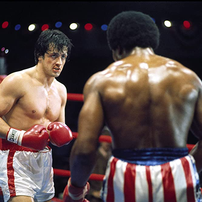 Sylvester Stallone and Carl Weathers in Rocky (1976)