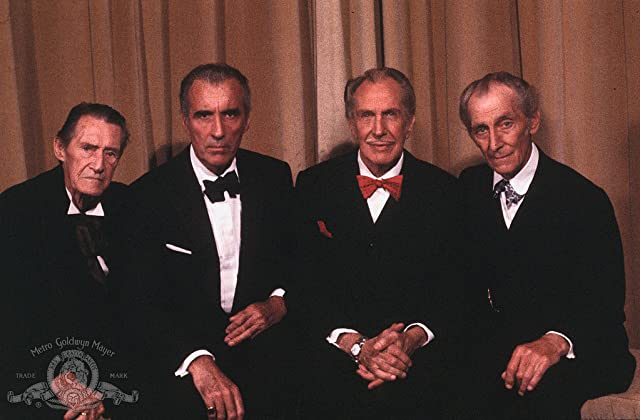 Christopher Lee, John Carradine, Peter Cushing, and Vincent Price in House of the Long Shadows (1983)