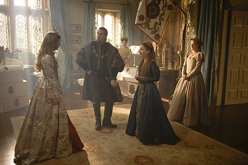 Jonathan Rhys Meyers, Tamzin Merchant, and Laoise Murray in The Tudors (2007)