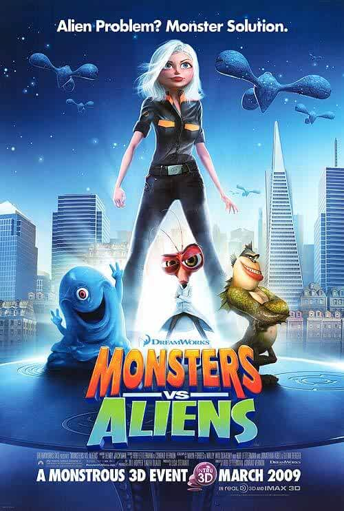 Monsters Vs Aliens 2009 BluRay 480p Hindi Dual Audio 300MB