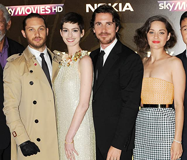 Christian Bale, Anne Hathaway, Marion Cotillard, and Tom Hardy at The Dark Knight Rises (2012)