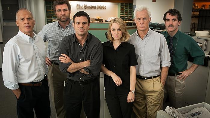 Michael Keaton, Liev Schreiber, Brian d'Arcy James, Mark Ruffalo, John Slattery, and Rachel McAdams in Spotlight (2015)