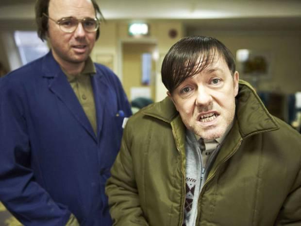 Ricky Gervais and Karl Pilkington in Derek: Pilot (2012)