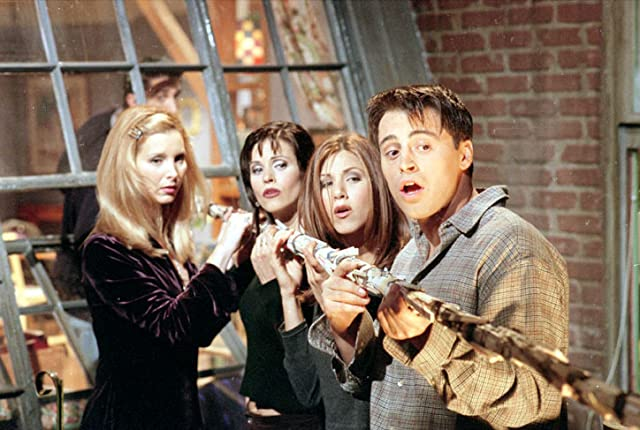 Jennifer Aniston, Courteney Cox, Lisa Kudrow, and Matt LeBlanc in Friends (1994)