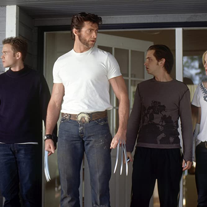 Anna Paquin, Shawn Ashmore, Hugh Jackman, and Aaron Stanford in X2 (2003)