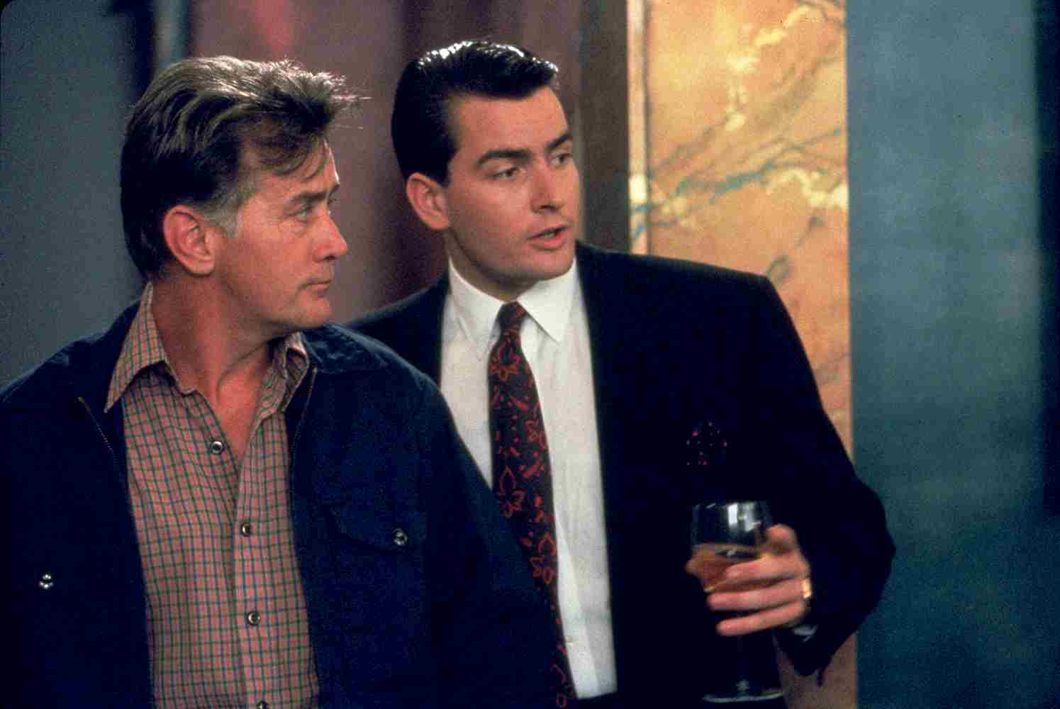 Charlie Sheen and Martin Sheen in Wall Street (1987)