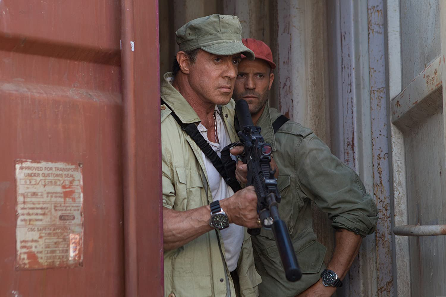 Sylvester Stallone and Jason Statham in The Expendables 3 (2014)