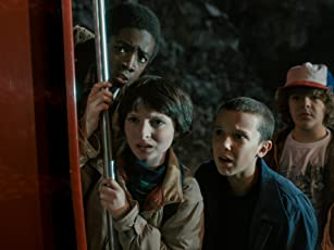 Caleb McLaughlin, Millie Bobby Brown, Finn Wolfhard, and Gaten Matarazzo in Stranger Things (2016)