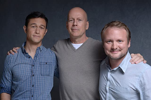 Bruce Willis, Joseph Gordon-Levitt, and Rian Johnson at Looper (2012)