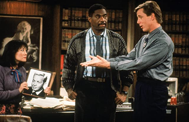 Harry Anderson, Denice Kumagai, and Charles Robinson in Night Court (1984)