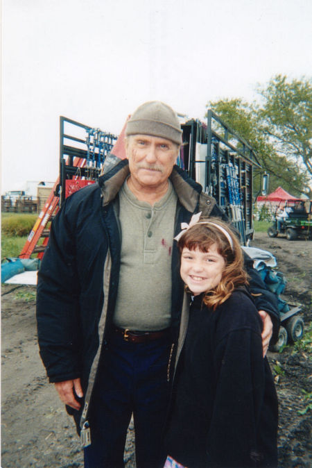 Robert Duvall and Jennifer Stone on the set of