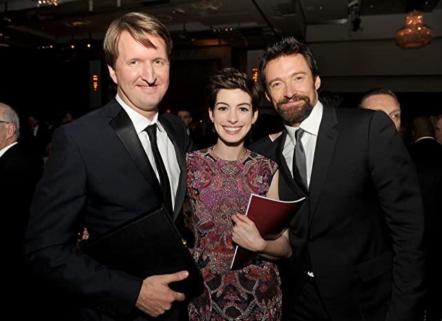 Anne Hathaway, Tom Hooper, and Hugh Jackman