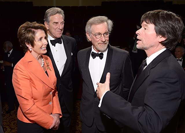 Minority Leader of the U.S. House of Representatives Nancy Pelosi, Paul Pelosi, filmmaker and honoree Steven Spielberg, and Foundation for the National Archives Board Vice President and Gala Chair Ken Burns view two facsimile versions of the 13th Amendment at the Foundation for the National Archives 2013 Records of Achievement award ceremony and gala in honor of Steven Spielberg on November 19, 2013 in Washington, D.C.