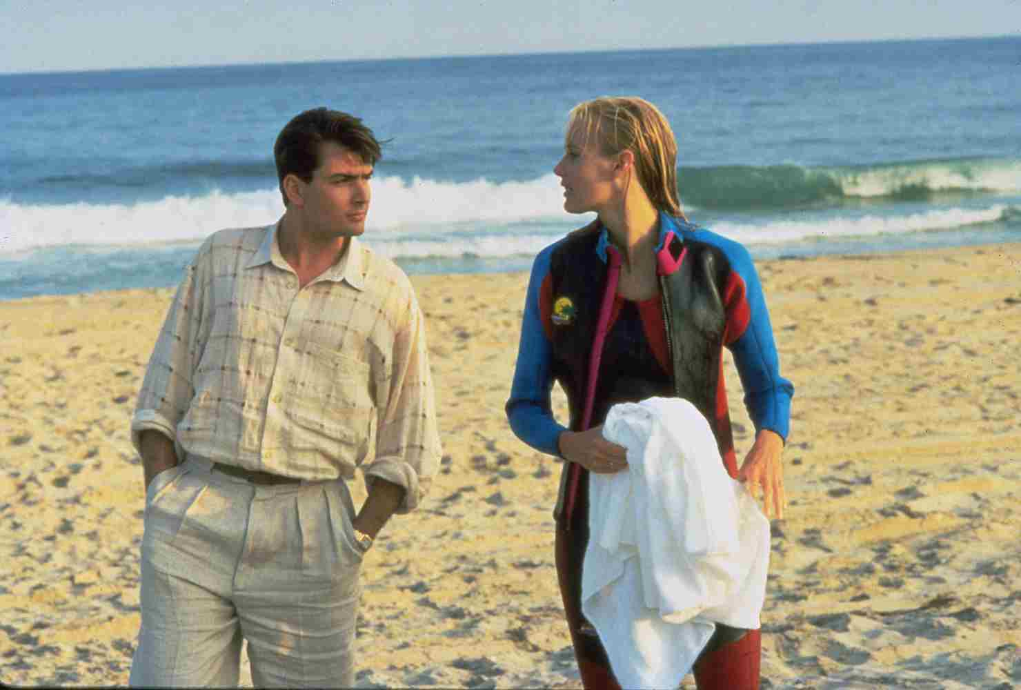 Charlie Sheen and Daryl Hannah in Wall Street (1987)