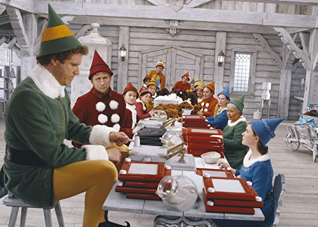 Will Ferrell, Kristian Ayre, Peter Billingsley, and David Avalon in Elf (2003)