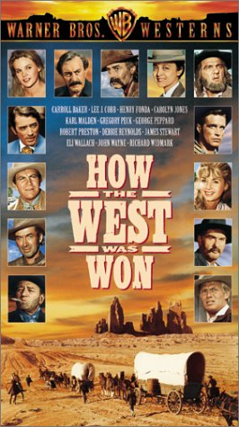Henry Fonda, Gregory Peck, James Stewart, John Wayne, George Peppard, Karl Malden, Debbie Reynolds, Richard Widmark, Lee J. Cobb, Carroll Baker, Harry Morgan, and Robert Preston in How the West Was Won (1962)